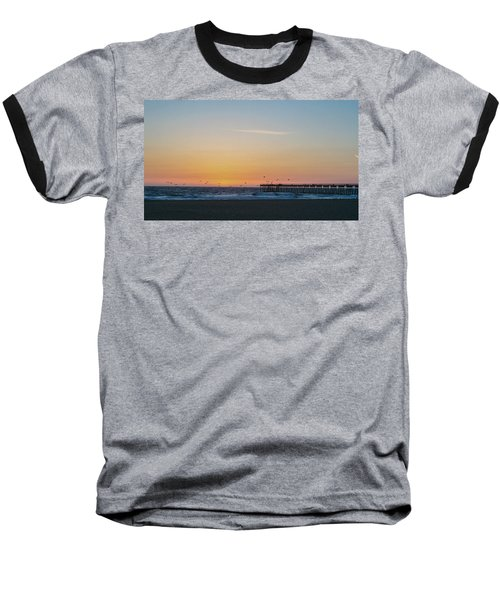 Hermosa Beach Pier At Sunset With Seagulls Baseball T-Shirt by Mark Barclay