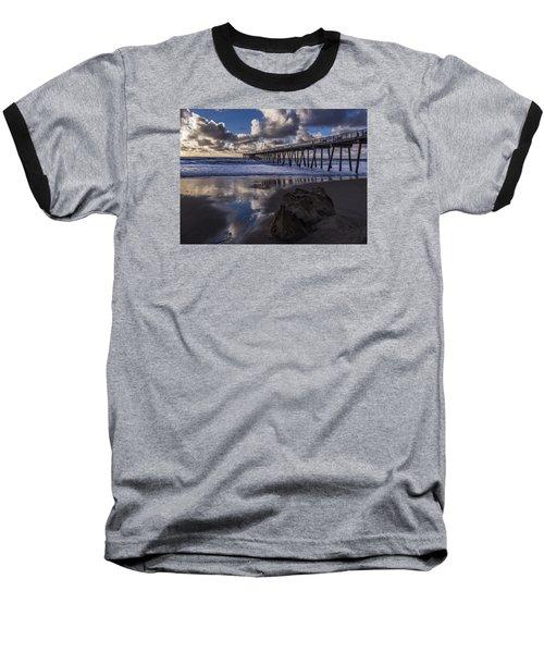 Hermosa Beach Pier Baseball T-Shirt by Ed Clark