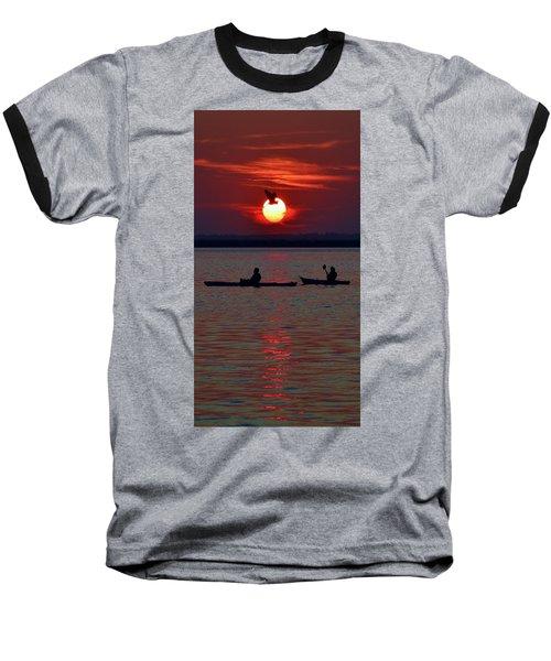Heron And Kayakers Sunset Baseball T-Shirt