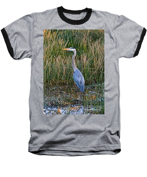 Heron At Sunset Baseball T-Shirt