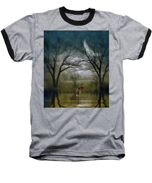 Heron By Moon Glow  Baseball T-Shirt by Andrea Kollo