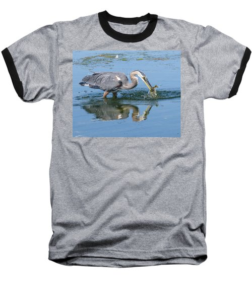 Great Blue Heron Catches A Fish Baseball T-Shirt by Keith Boone