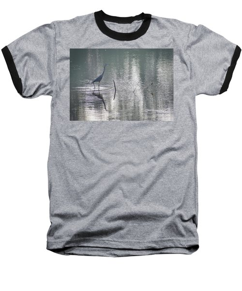 Baseball T-Shirt featuring the photograph Heron In Pastel Waters by Skip Willits