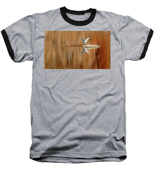 Heron Tapestry Baseball T-Shirt by Evelyn Tambour