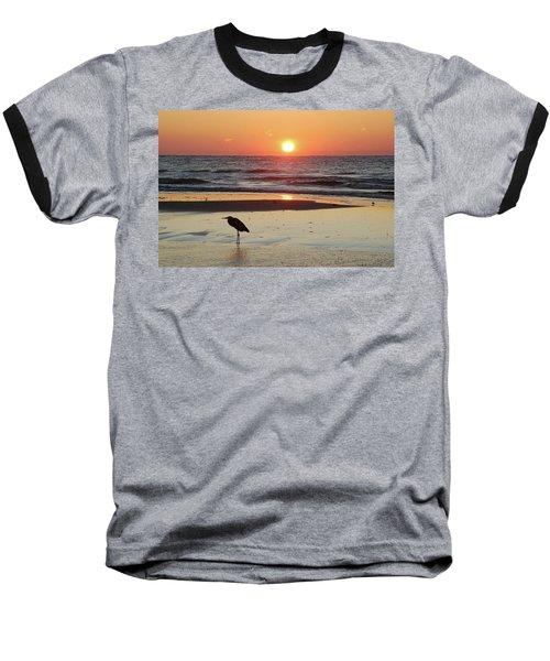 Heron Watching Sunrise Baseball T-Shirt