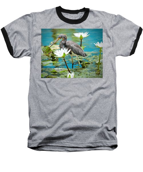 Heron With Water Lillies Baseball T-Shirt