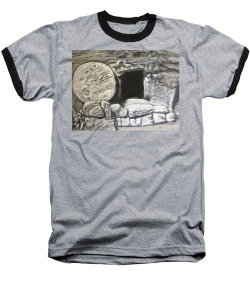 He's Not Here Baseball T-Shirt