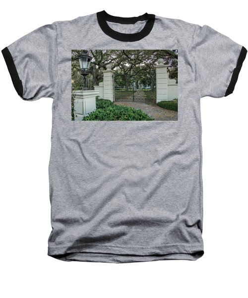 Baseball T-Shirt featuring the photograph Heyman House Gates by Gregory Daley  PPSA