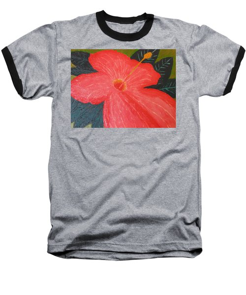 Hibiscus Baseball T-Shirt by Barbara Yearty