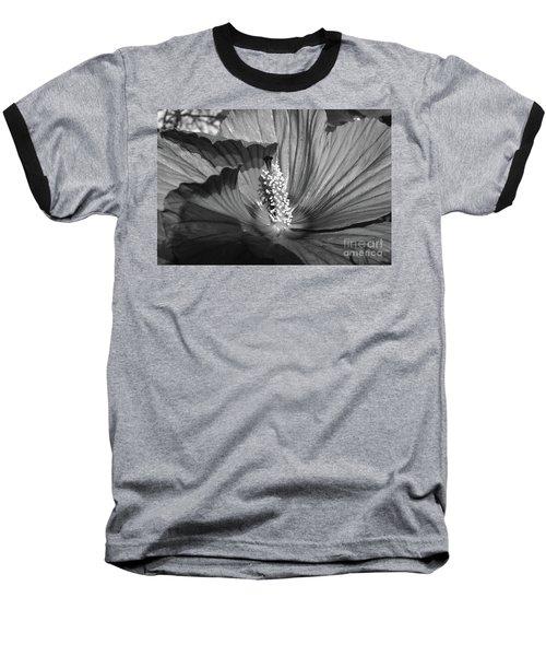 Hibiscus Black And White Baseball T-Shirt