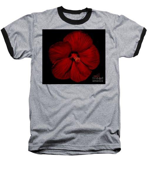 Hibiscus By Moonlight Baseball T-Shirt by Marsha Heiken