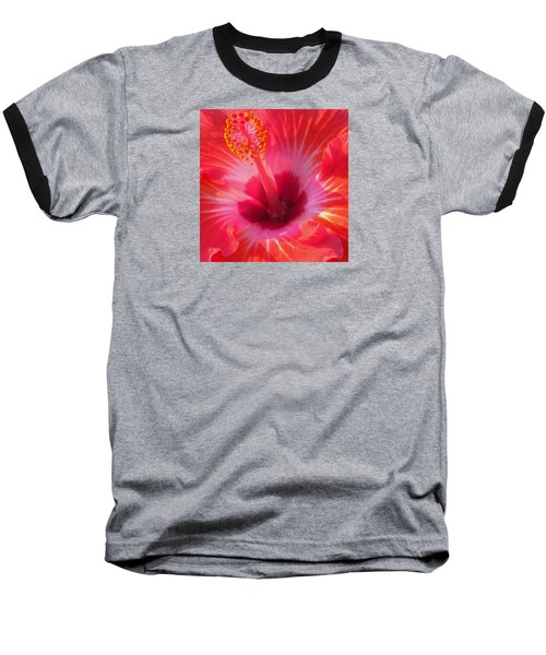 Hibiscus - Coral And Pink Square Baseball T-Shirt by Kerri Ligatich