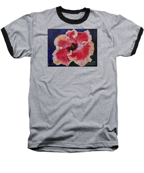 Baseball T-Shirt featuring the painting Hibiscus by Jenny Lee