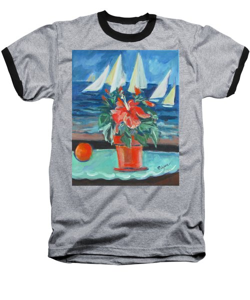 Hibiscus With An Orange And Sails For Breakfast Baseball T-Shirt
