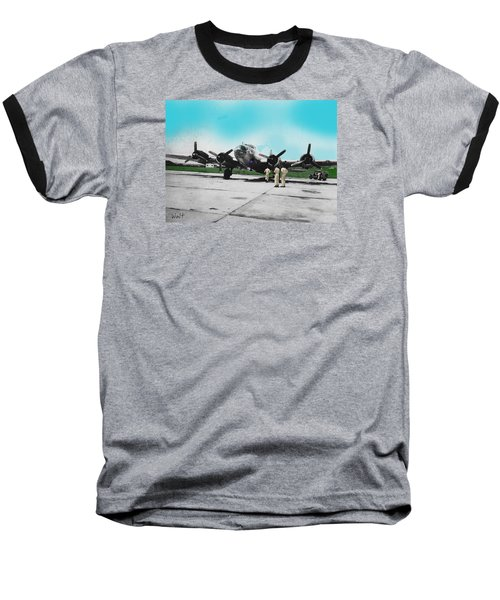 Baseball T-Shirt featuring the digital art Hickam Fort by Walter Chamberlain