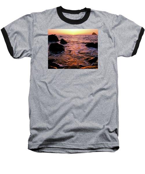 Hidden Cove Sunset Redwood National Park Baseball T-Shirt by Ed  Riche