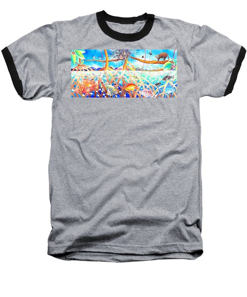 Baseball T-Shirt featuring the painting Hide And Seek by Hisayo Ohta