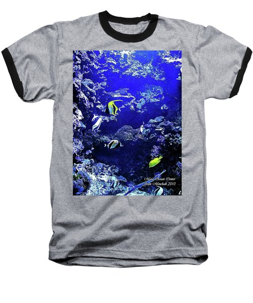 Hiding Fish Baseball T-Shirt by Joan  Minchak