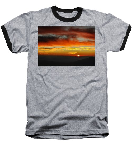 Baseball T-Shirt featuring the photograph High Altitude Fiery Sunset by Joe Bonita