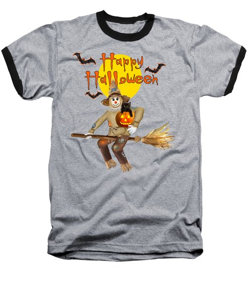 High Flying Scarecrow Baseball T-Shirt by Glenn Holbrook