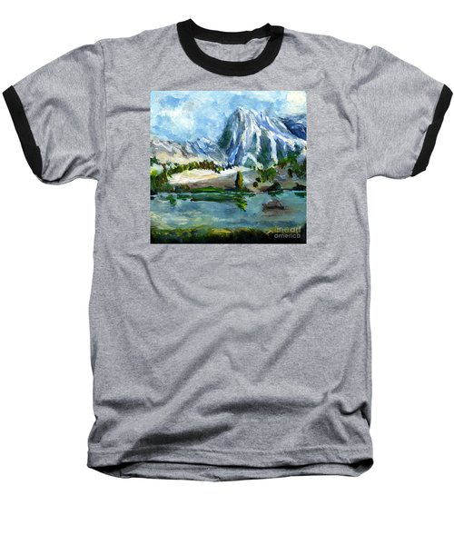 High Lake First Snow Baseball T-Shirt by Randy Sprout
