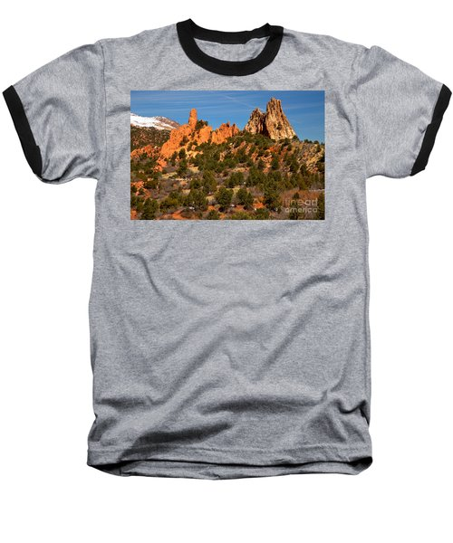Baseball T-Shirt featuring the photograph High Point Rock Towers by Adam Jewell