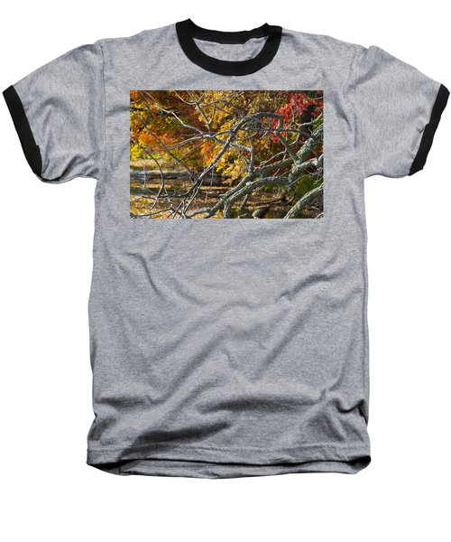 Highly Textured Branches Against Autumn Trees Baseball T-Shirt