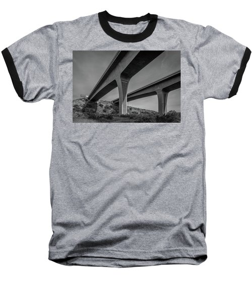 Highway 52 Over Spring Canyon, Black And White Baseball T-Shirt