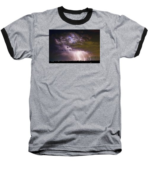 Highway 52 Storm Cell - Two And Half Minutes Lightning Strikes Baseball T-Shirt by James BO  Insogna