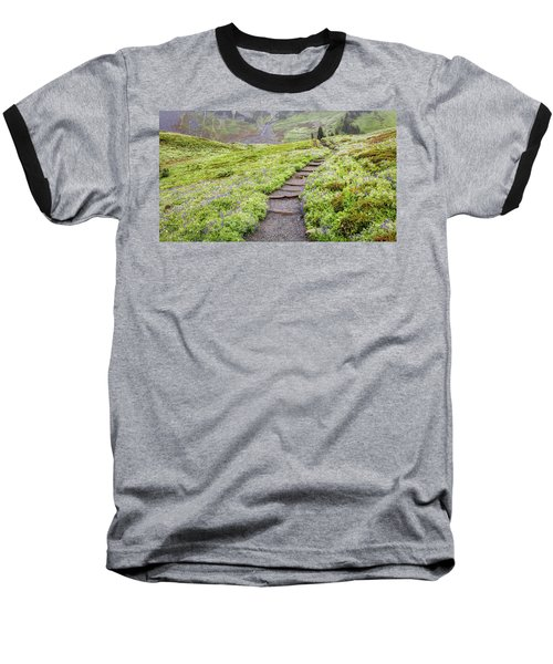 Baseball T-Shirt featuring the photograph Hiking Mount Rainier In The Fog by Pierre Leclerc Photography