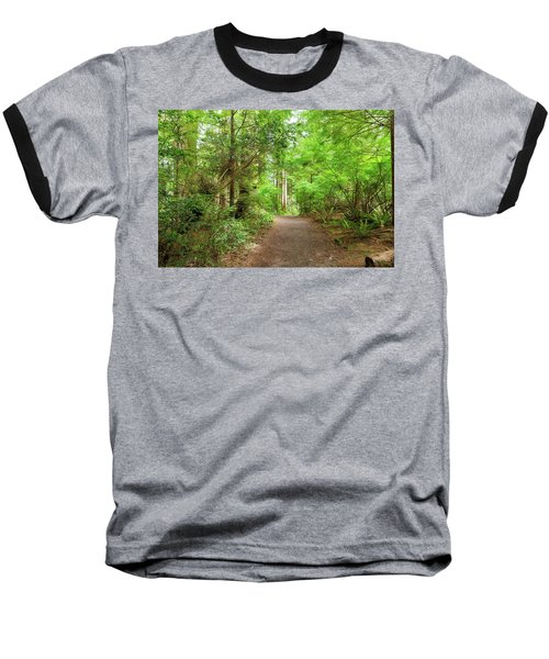 Hiking Trail Through Forest Along Lewis And Clark River Baseball T-Shirt