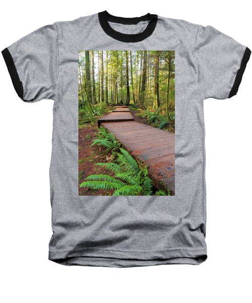 Hiking Trail Wood Walkway In Lynn Canyon Park Baseball T-Shirt