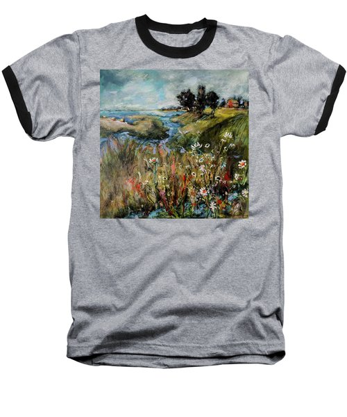 Hill Top Wildflowers Baseball T-Shirt by Sharon Furner
