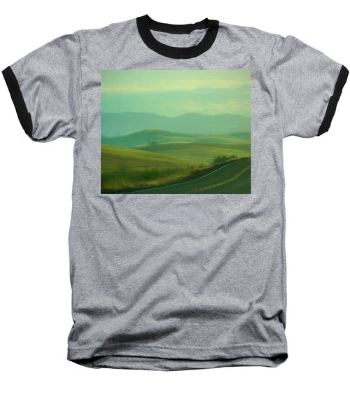Hills In The Early Morning Light Digital Impressionist Art Baseball T-Shirt