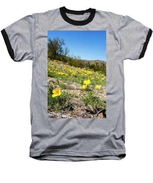 Hillside Flowers Baseball T-Shirt by Ed Cilley
