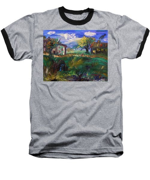Baseball T-Shirt featuring the painting Hillside Tranquility by Mary Carol Williams