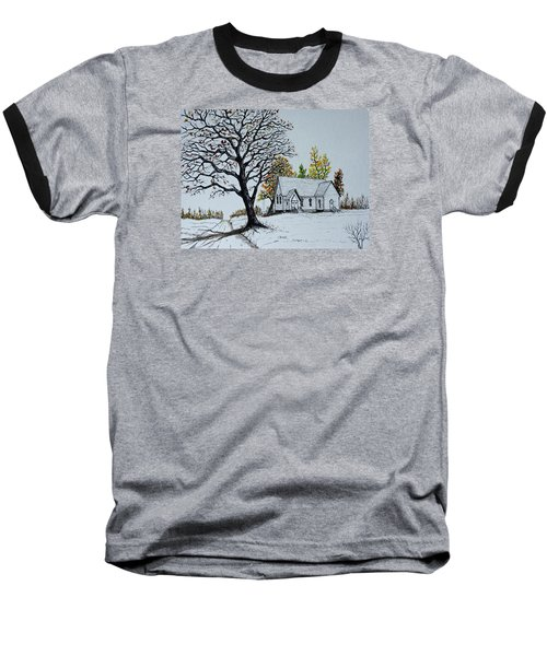 Baseball T-Shirt featuring the painting Hilltop Church by Jack G  Brauer