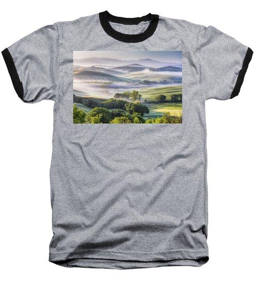 Hilly Tuscany Valley At Morning Baseball T-Shirt