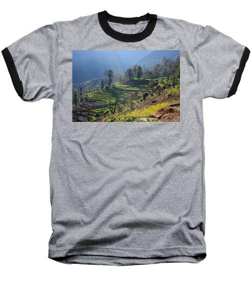 Himalayan Stepped Fields - Nepal Baseball T-Shirt
