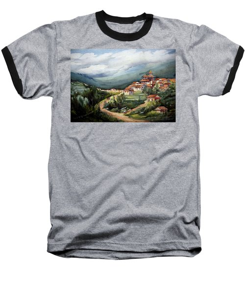 Himalayan Village  Baseball T-Shirt by Samiran Sarkar