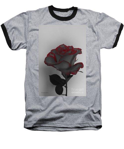 Hints Of Red- Single Rose Baseball T-Shirt