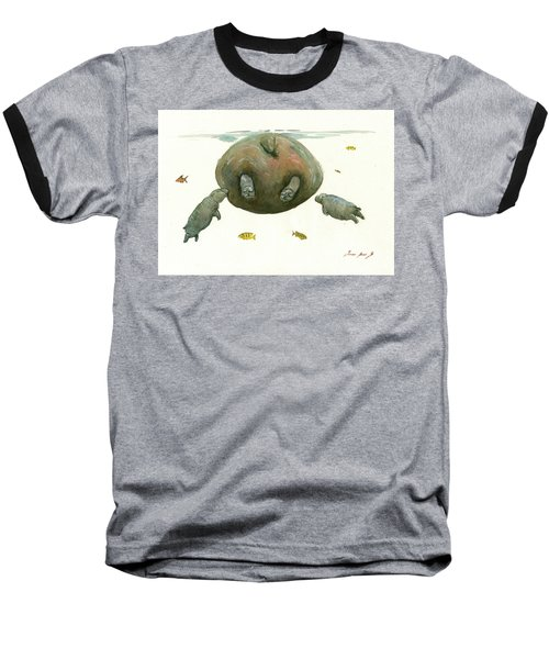 Hippo Mom With Baby Baseball T-Shirt