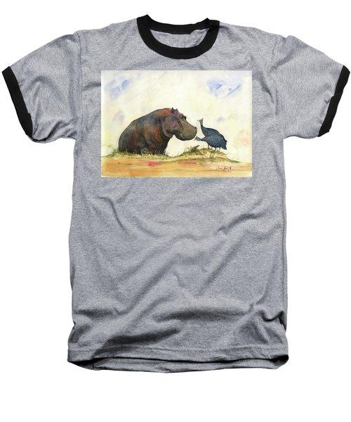 Hippo With Guinea Fowls Baseball T-Shirt
