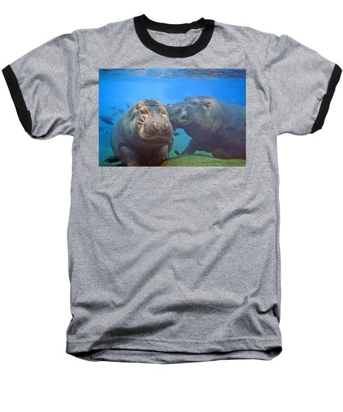 Hippos In Love Baseball T-Shirt