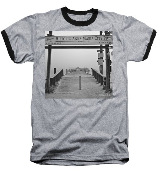 Historic Anna Maria City Pier In Fog Infrared 52 Baseball T-Shirt