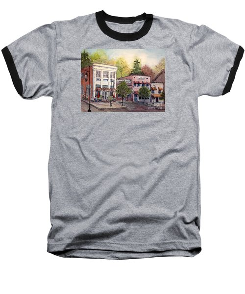 Baseball T-Shirt featuring the painting Historic Blue Ridge Shops by Gretchen Allen