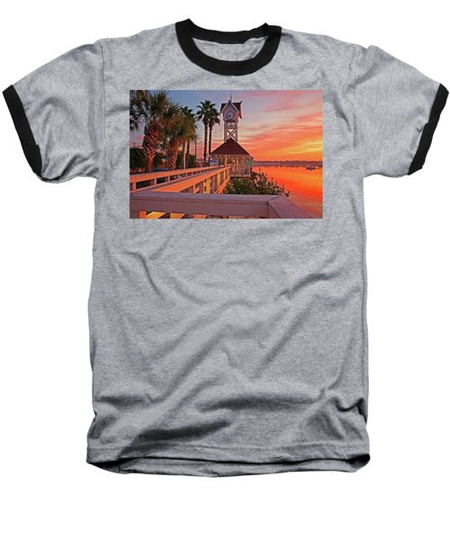 Historic Bridge Street Pier Sunrise Baseball T-Shirt