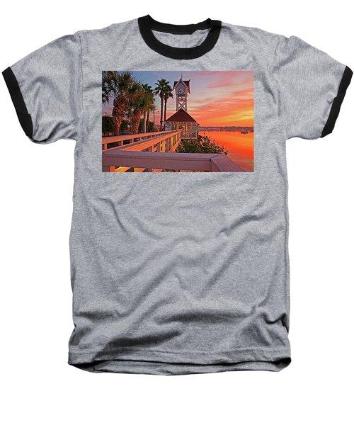 Historic Bridge Street Pier Sunrise Baseball T-Shirt