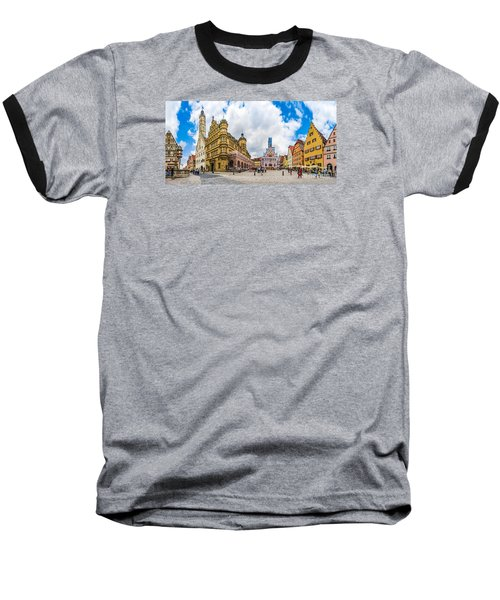 Historic Townsquare Of Rothenburg Ob Der Tauber, Franconia, Bava Baseball T-Shirt by JR Photography