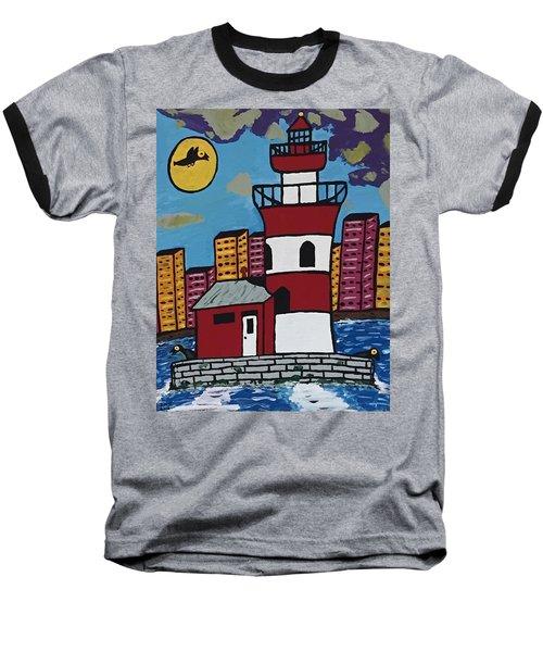 Historical Michigan Lighthouse Baseball T-Shirt by Jonathon Hansen